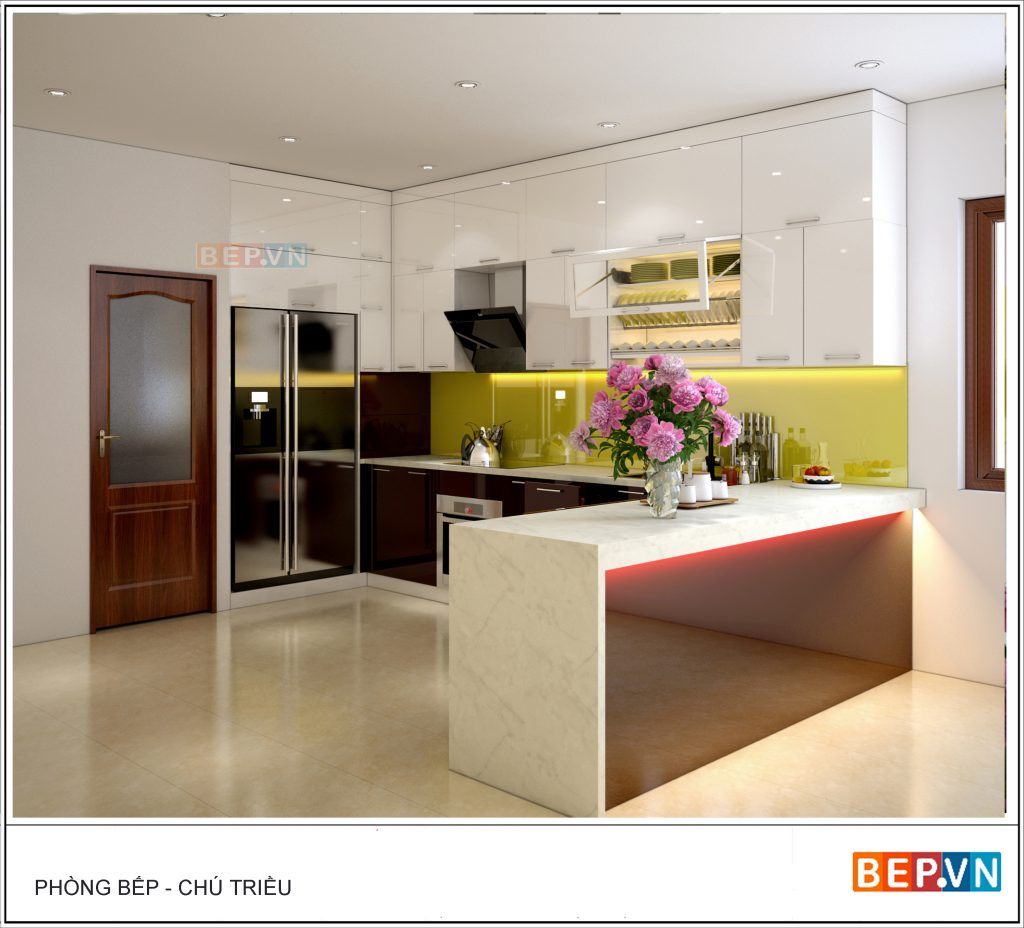 Nhà bếp đơn giản sang trọng với thiết kế quầy bar
