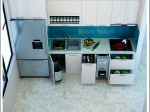 Tủ bếp Acrylic chữ i gia đình anh Tùng