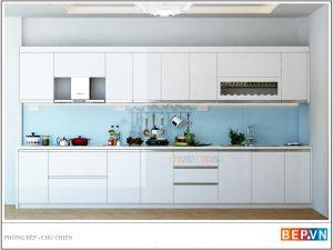 Tủ bếp Acrylic thẳng gia đình chú Chiến