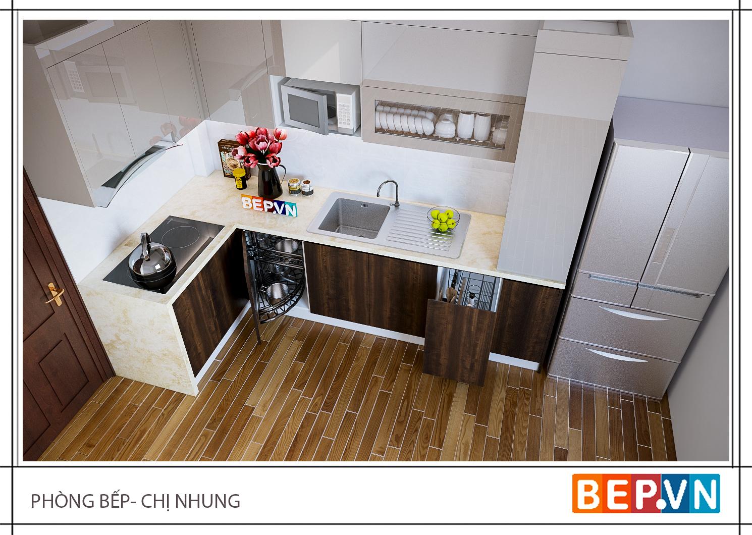 Thiết kế tủ bếp chữ L gia đình chị Nhung