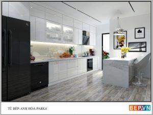 Tủ bếp đảo Acrylic gia đình anh Hòa