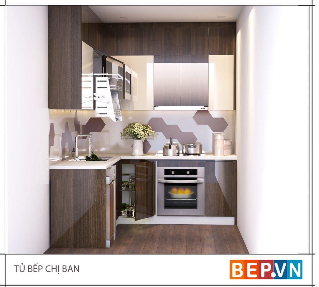 Điểm nhấn cho phòng bếp nhỏ đến từ ốp tường bếp