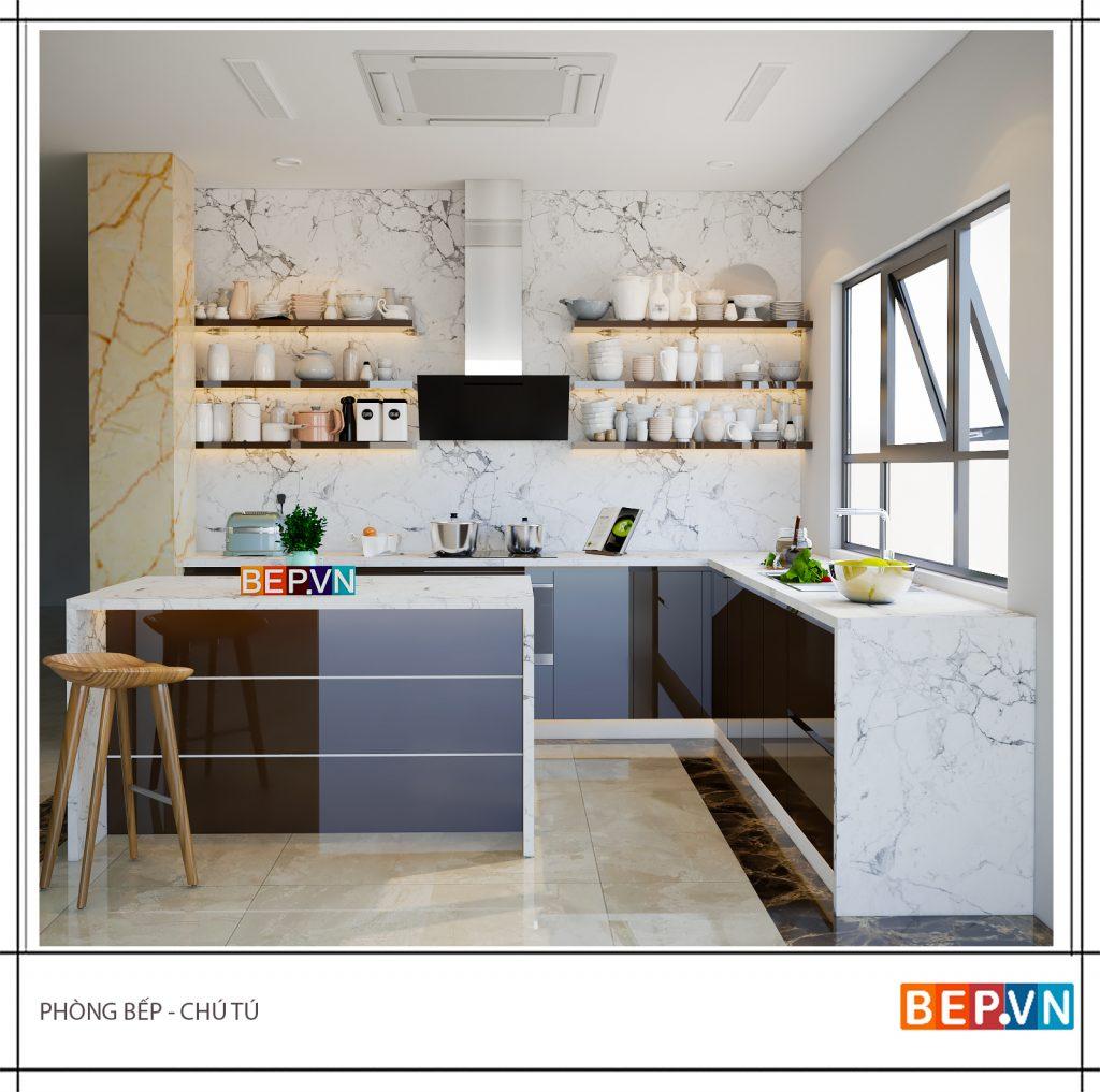 Tủ bếp mở vừa đảm nhiệm chức năng lưu trữ vừa trang trí cho phòng bếp