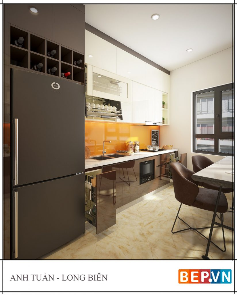 Ý tưởng thiết kế phòng bếp đẹp với  Backsplash sáng