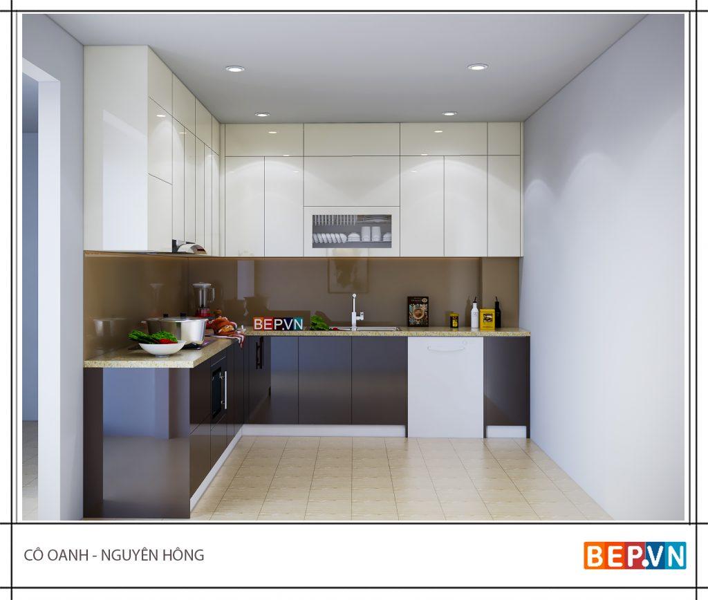 Ý tưởng thiết kế phòng bếp đẹp với hai tông màu khác nhau