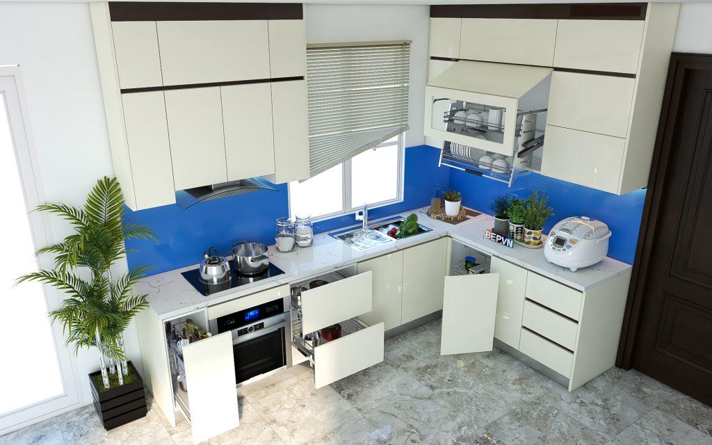 Thiết kế tủ bếp chữ L hiện đại gia đình anh Hải