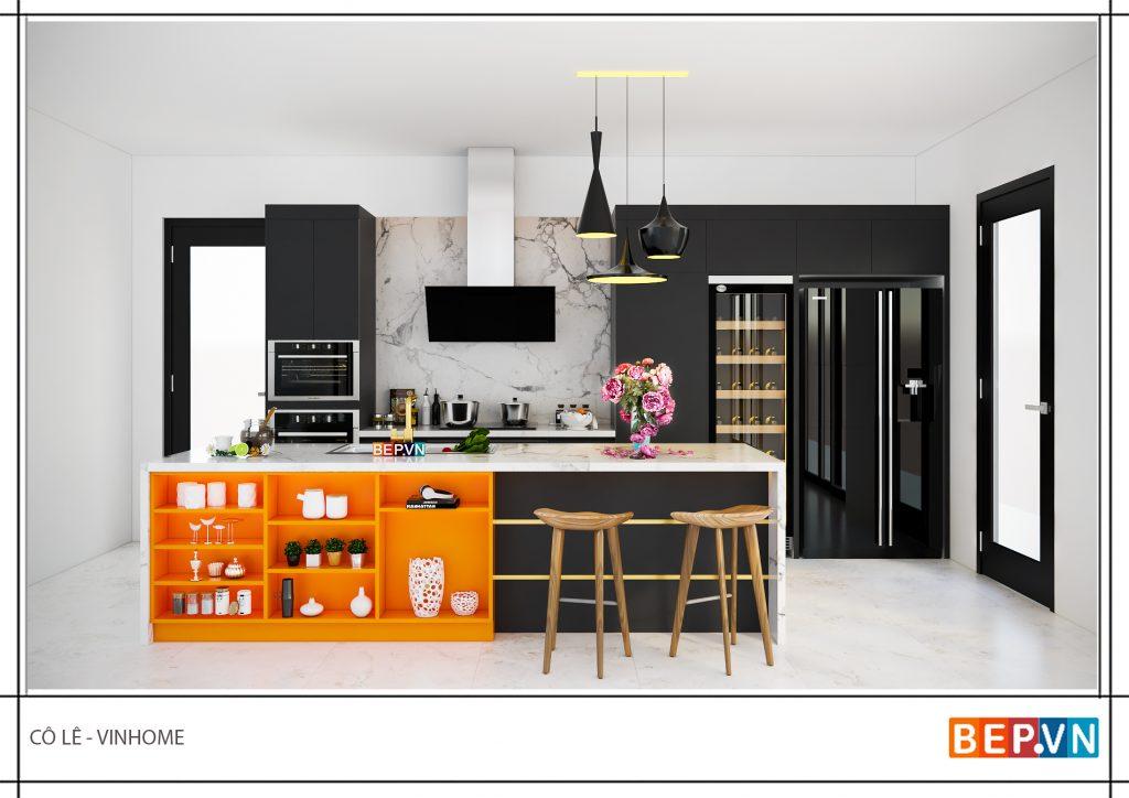 Sử dụng Chất liệu đá Granite cho thiết kế tủ bếp hiện đại.