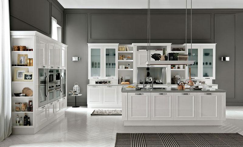 nhà bếp đẹp được thiết kế với mẫu tủ bếp tân cổ điển kết hợp hiện đại