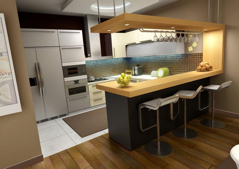 Mẫu nhà bếp tân cổ điển kết hợp với quầy bar