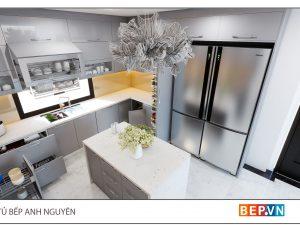 Thiết kế tủ bếp chữ U hiện đại gia đình anh Nguyên