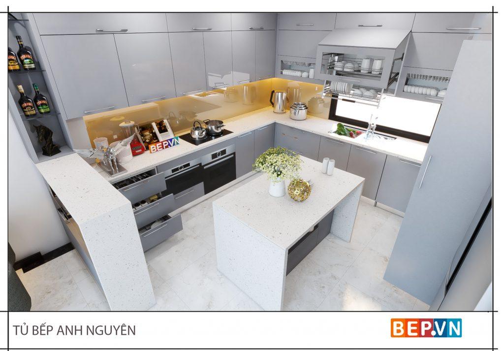 Thiết kế tủ bếp chữ U đẹp hiện đại gia đình anh Nguyên