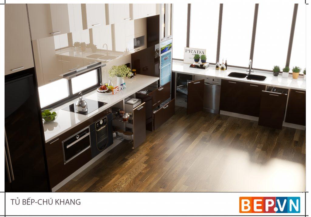 Thiết kế tủ bếp cho không gian rộng rãi thoải mái