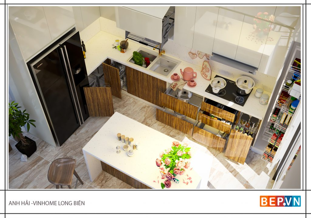 Mẫu tủ bếp có đá ốp tường bếp và đá ốp mặt bàn bếp thẩm mỹ cao.