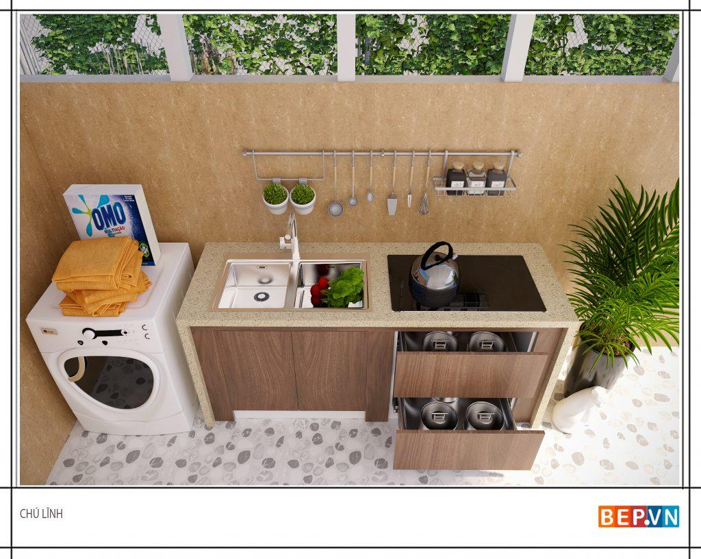 Sử dụng thêm các giá móc treo cho thiết kế tủ bếp