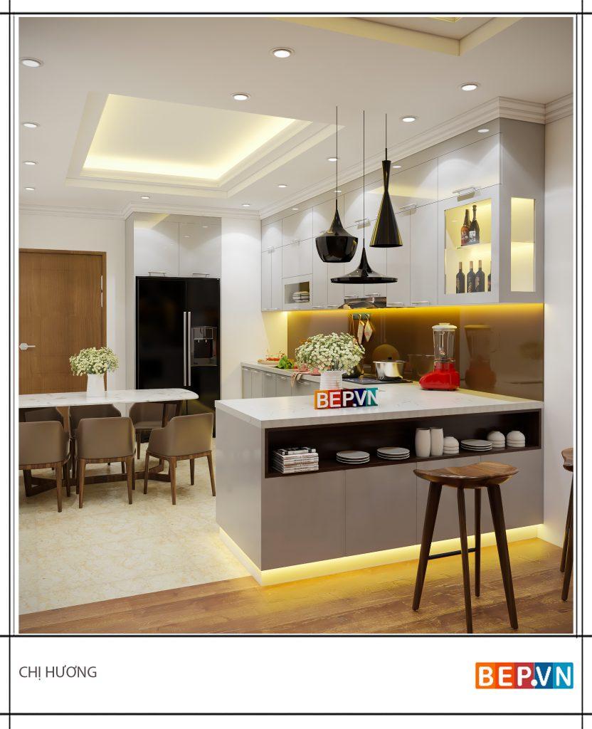 Thiết kế bếp có nội thất cùng tông màu sáng