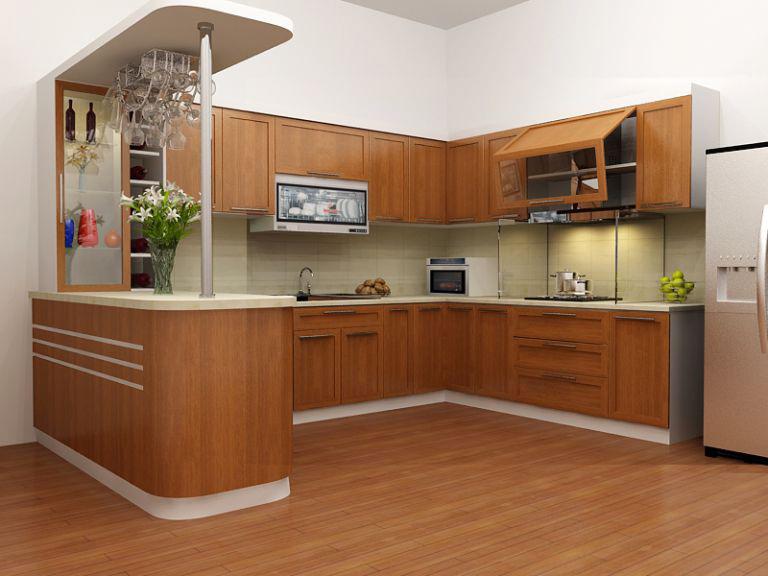 Tủ bếp kết hợp với quầy bar mini