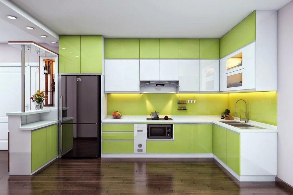 Tủ bếp kịch trần phối màu xanh