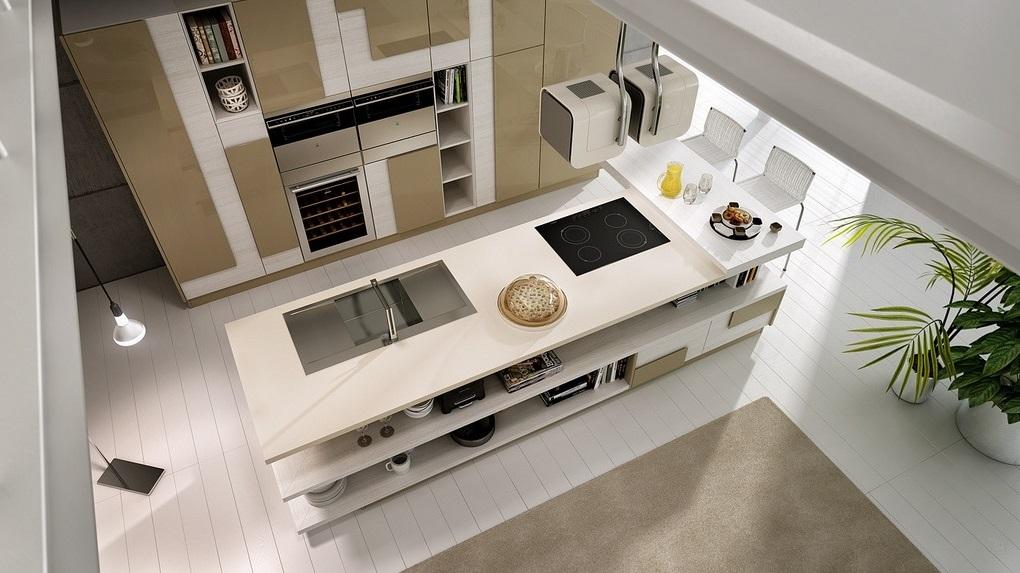 thiết kế tủ bếp đẹp hoàn hảo với gam màu sáng