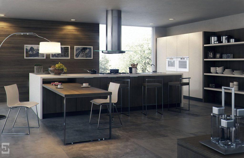 thiết kế tủ bếp đẹp hoàn hảo khi kết hợp ánh sáng tự nhiên