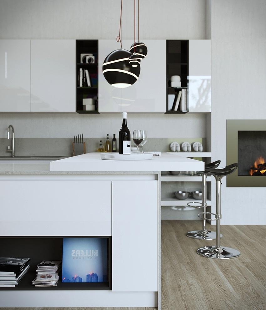 thiết kế tủ bếp đẹp hoàn hảo khi kết hợp hai màu đen và trắng