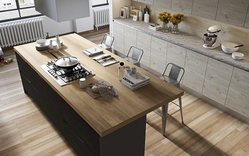 thiết kế tủ bếp đẹp hoàn hảo với đảo bếp bằng gỗ