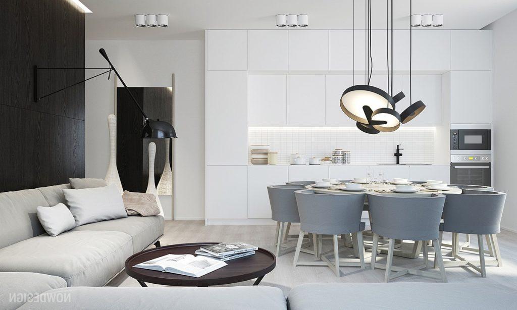 Thiết kế nhà bếp trắng độc đáo được chiếu sáng với ánh sáng mặt trời