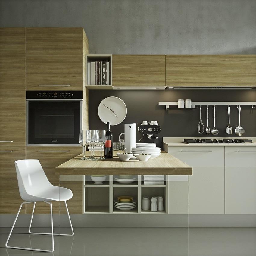 thiết kế tủ bếp đẹp hoàn hảo với quầy bar