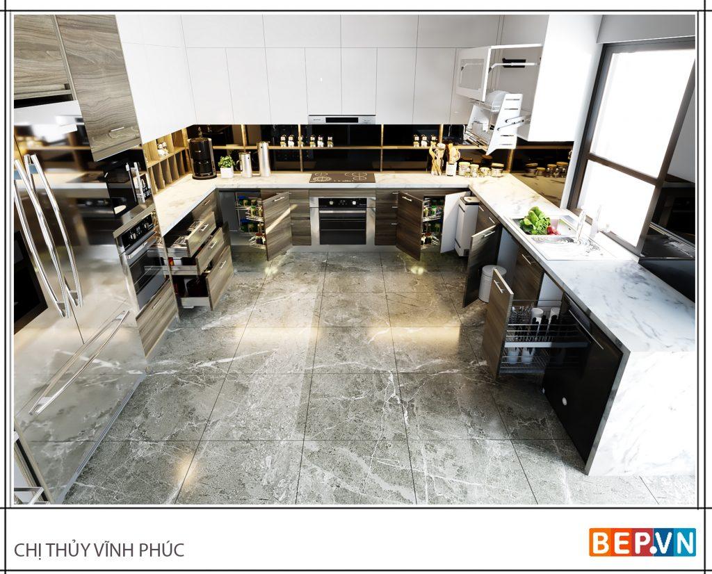 Thiết kế tủ kho kết hợp lò nướng và lò vi sóng trong căn bếp gia đình chị Thủy