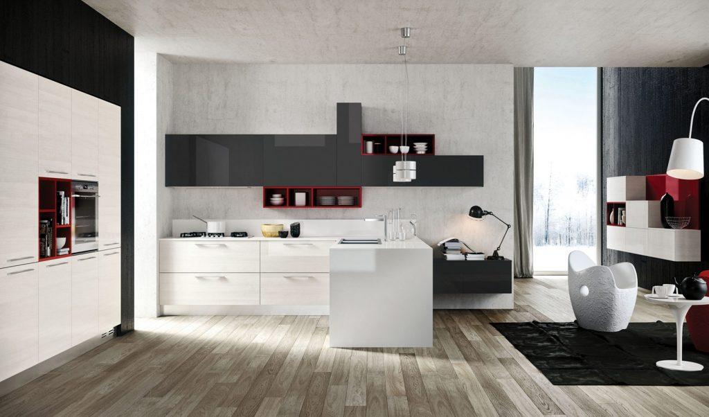 nhà bếp đẹp thu hút khi có sự tương phản màu sắc