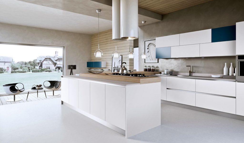 nhà bếp đẹp thu hút với điểm nhấn là màu xanh lam