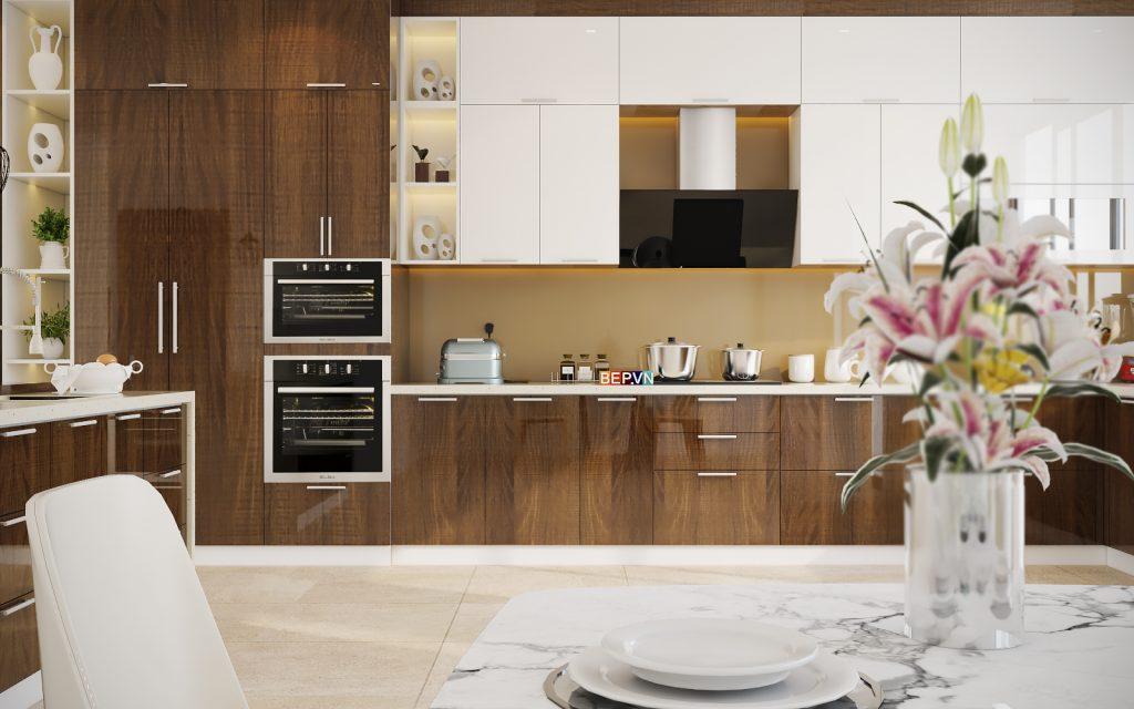 Tủ bếp thẳng Laminate kết hợp Acrylic