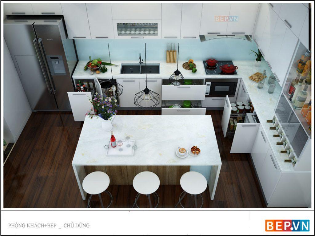Tủ bếp thẳng chất liệu Acrylic trắng nổi bật