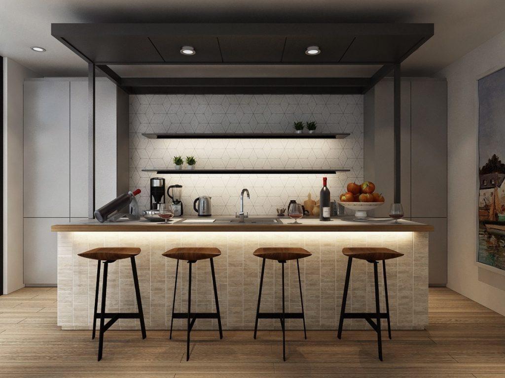 thiết kế tủ bếp ấn tượng nhưng vẫn nhẹ nhàng và ấm cúng