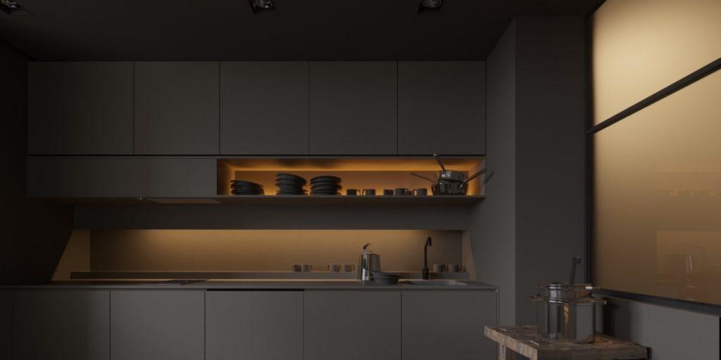 thiết kế tủ bếp ấn tượng tối giản
