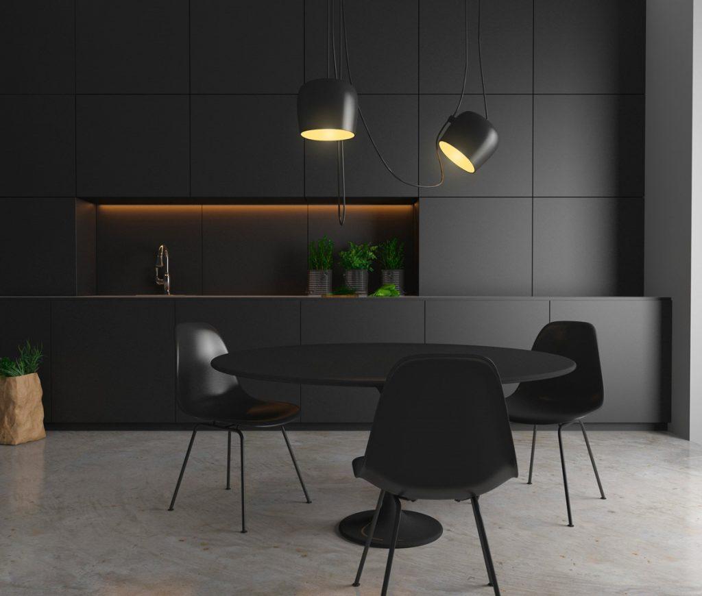 thiết kế tủ bếp ấn tượng màu đen