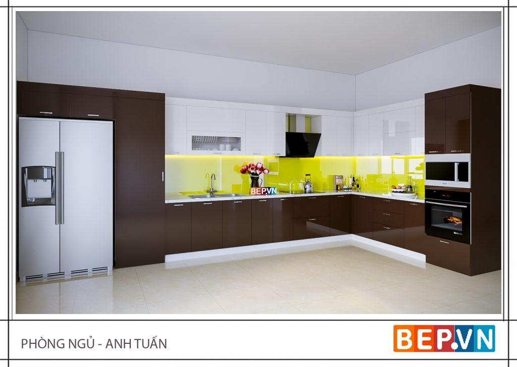 Thiết kế tủ kho kết hợp lò nướng và lò vi sóng trong căn bếp gia đình anh Tuấn