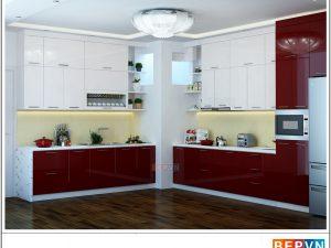 Tủ bếp Acrylic chữ L gia đình cô Mai