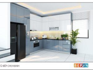 Tủ bếp Acrylic chữ L gia đình chị Hạnh