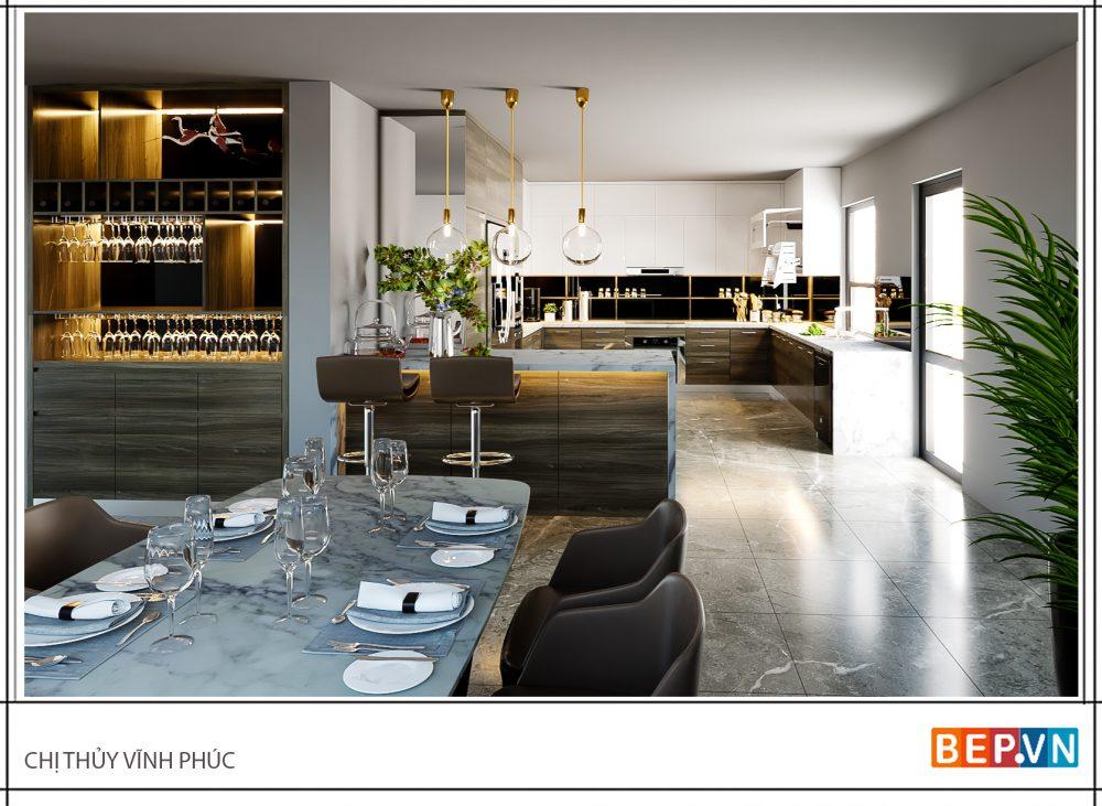 Tủ bếp Acrylic + Laminate kiểu chữ G nhà chị Thủy - Vĩnh Phúc