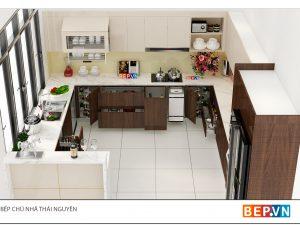 Tủ bếp Acrylic chữ G gia đình chú Nhã