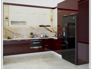 Tủ bếp Acrylic chữ L gia đình anh Trung- Minh Khai