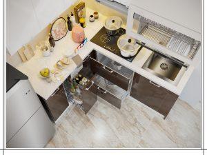 Tủ bếp Acrylic chữ L gia đình Bác Tiến - Bạch mai
