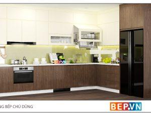 Tủ bếp Acrylic chữ L gia đình chú Dũng - Lạc Trung