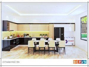 Tủ bếp Acrylic chữ L gia đình cô Thanh