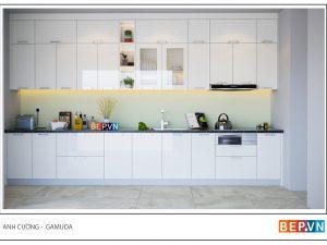 Tủ bếp Acrylic thẳng gia đình anh Cường - Gamuda