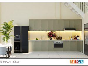 Tủ bếp Acrylic thẳng gia đình anh Tùng