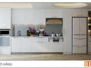 Tủ bếp Acrylic thẳng gia đình cô Hương- Mã Mây