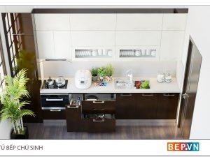 Mẫu tủ bếp chữ i gia đình chú Sinh