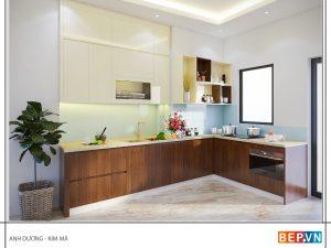 Tủ bếp Acrylic chữ L gia đình anh Dương