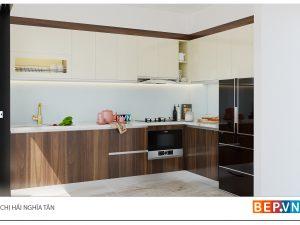 Tủ bếp chữ L gia đình chị Hải -Nghĩa Tân